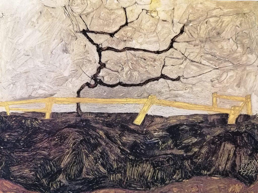 E.Schiele, Albero spoglio dietro uno steccato, 1912